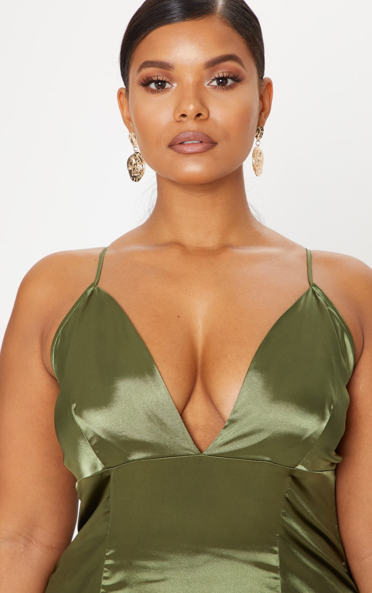 Plus Olive Green Satin Strappy Maxi Dress 5