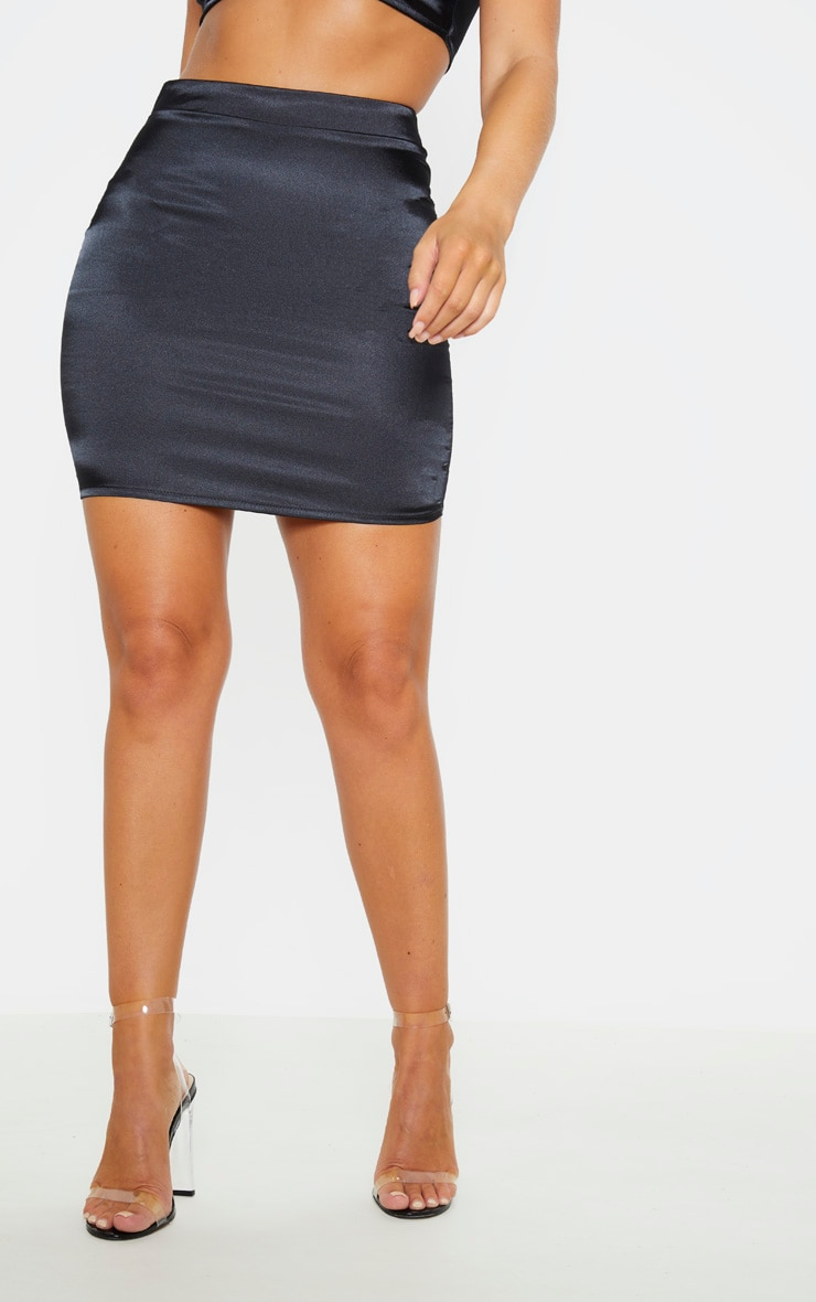 Black Satin High Waist Mini Skirt 2