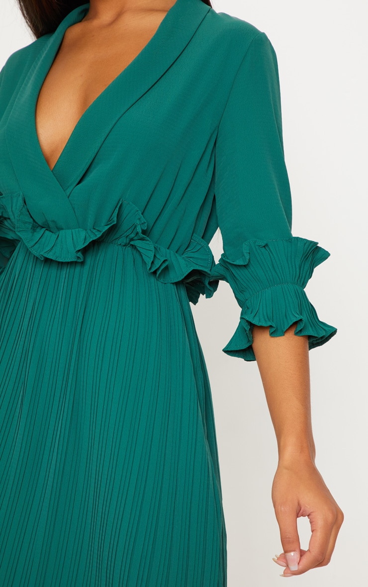 Emerald Green Frill Detail Pleated Midi Dress 5