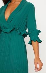 Emerald Green Frill Detail Pleated Midi Dress 5