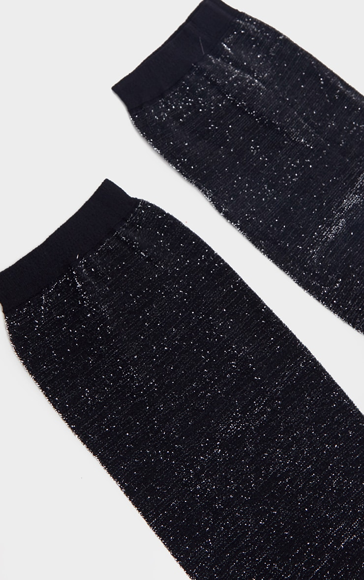 Black Glitter Ankle Socks 4
