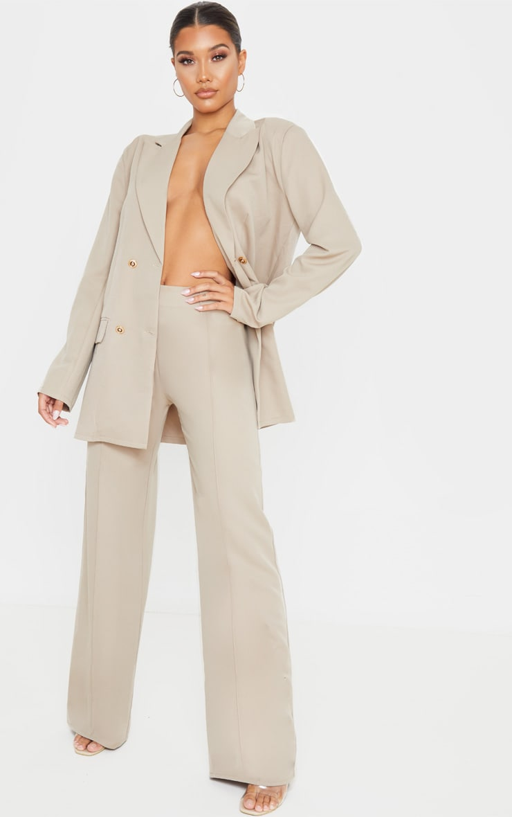 Taupe Shoulder Pad Oversized Double Breasted Blazer 4