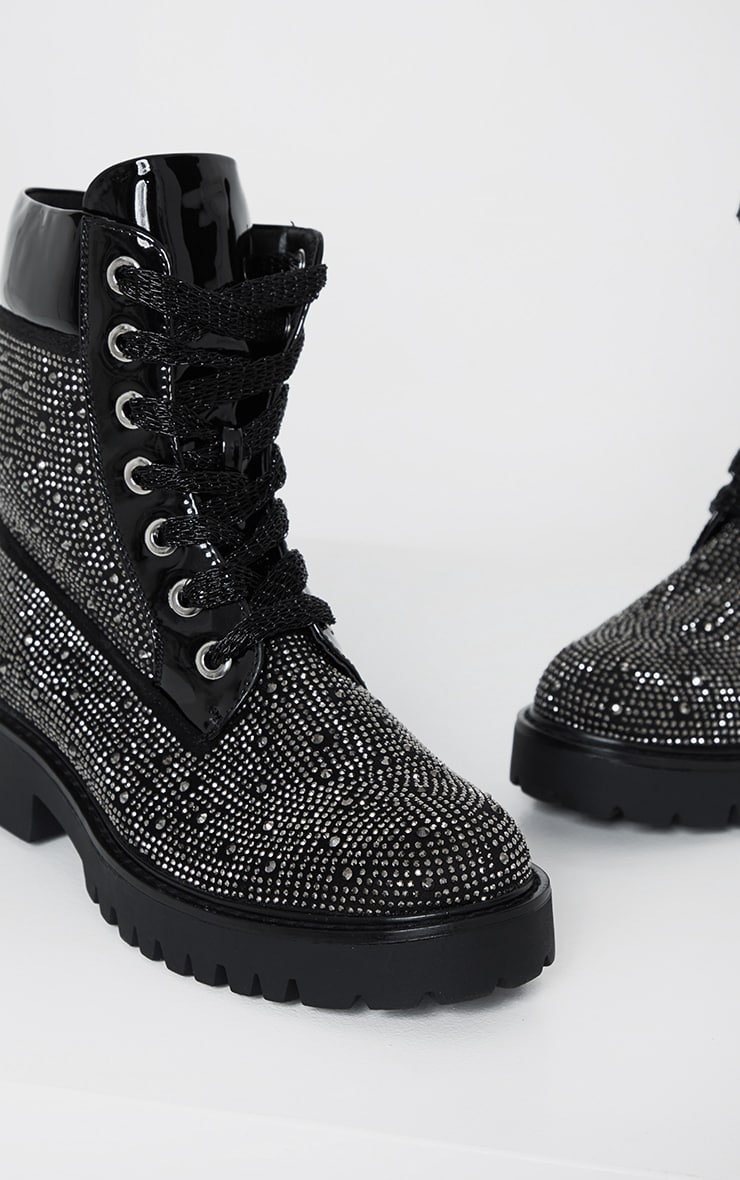 Black Stud Embellished Biker Boot 5