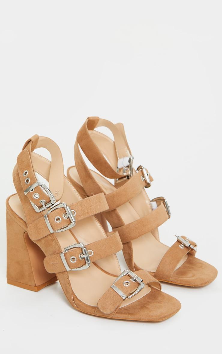 Tan Block Heel Multi Buckle Sandals 3