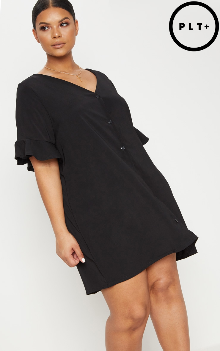 Plus Black Button Through Frill Sleeve Dress 1