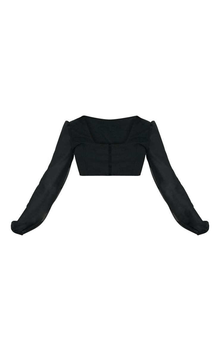 Black Sheer Sleeve Corset Top 3