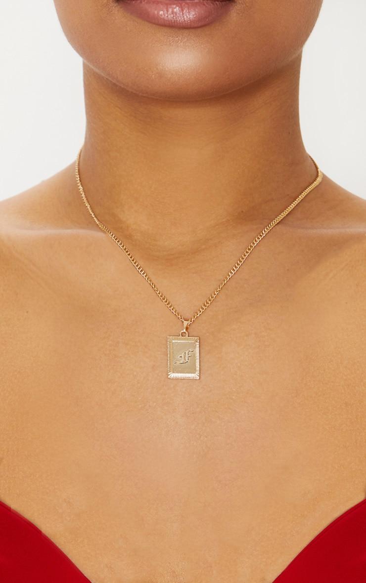 Gold Square Letter F Pendant Necklace 2