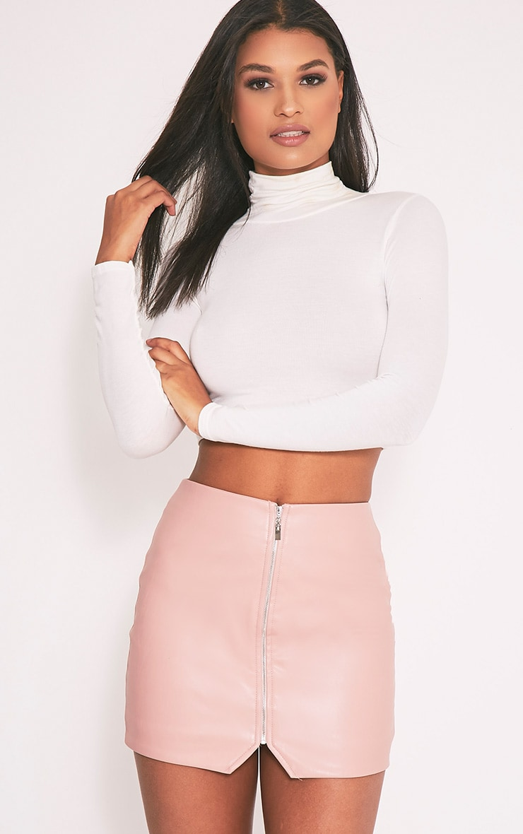 Suzy Blush Faux Leather Zip Front Mini Skirt 1