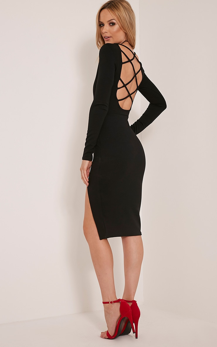 Aneelia Black Cross Back Long Sleeve Midi Dress 1