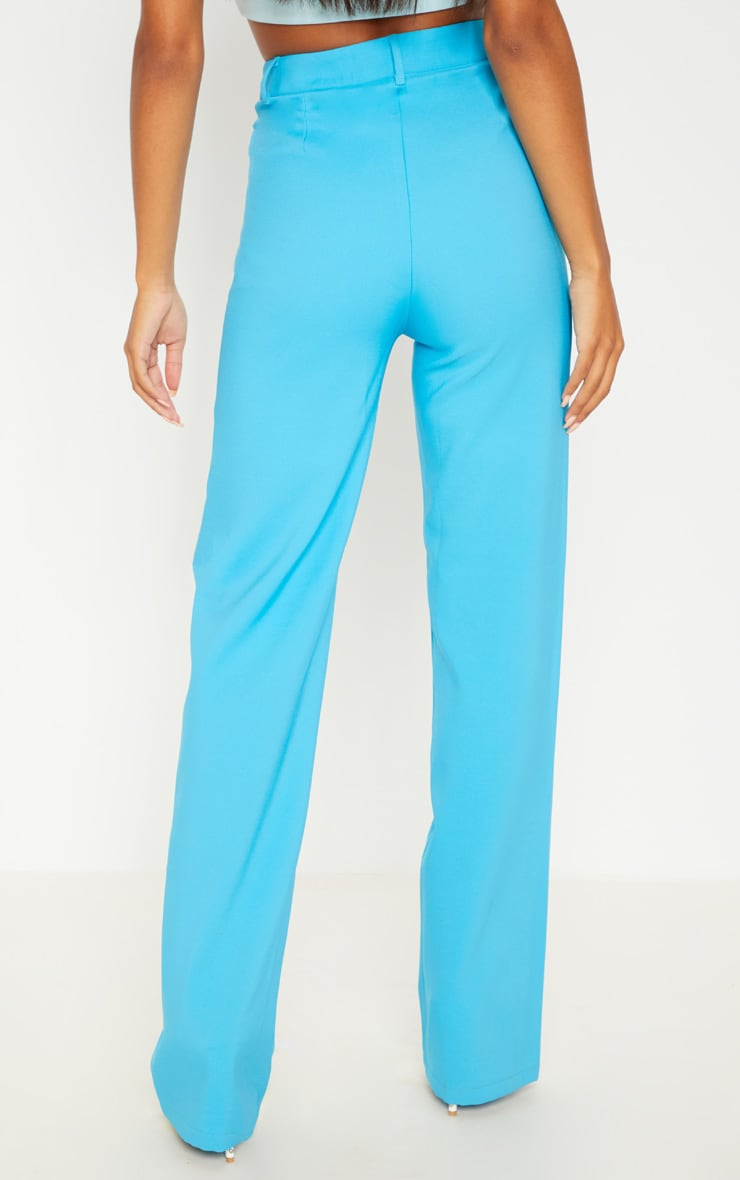 Bright Blue High Waisted Straight Leg Trouser 2