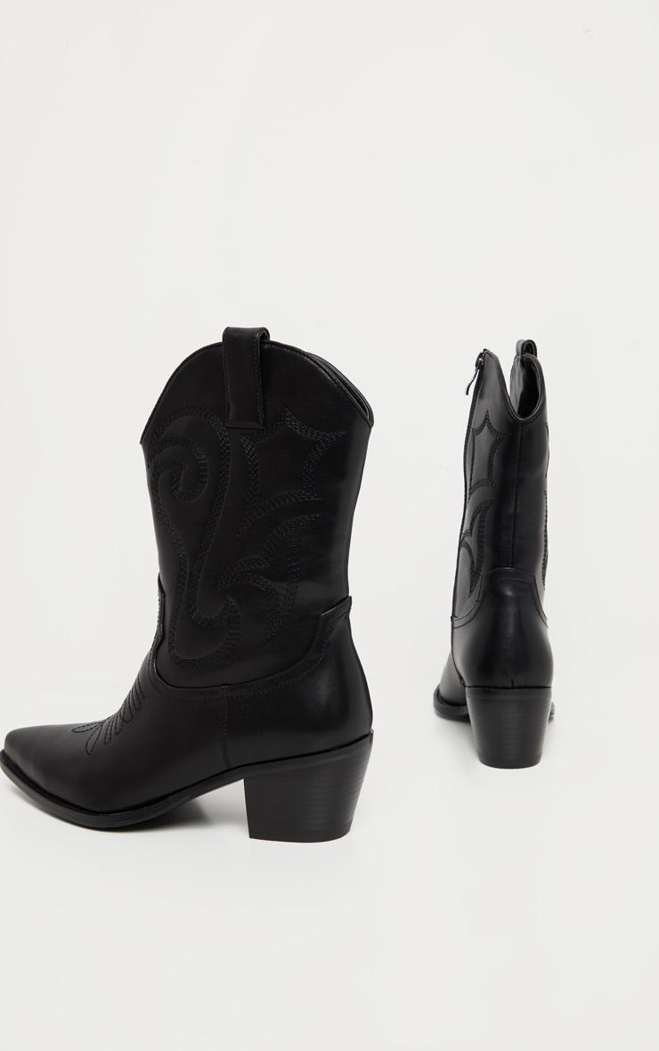 Black Stitch Detail Western Calf Boot 4