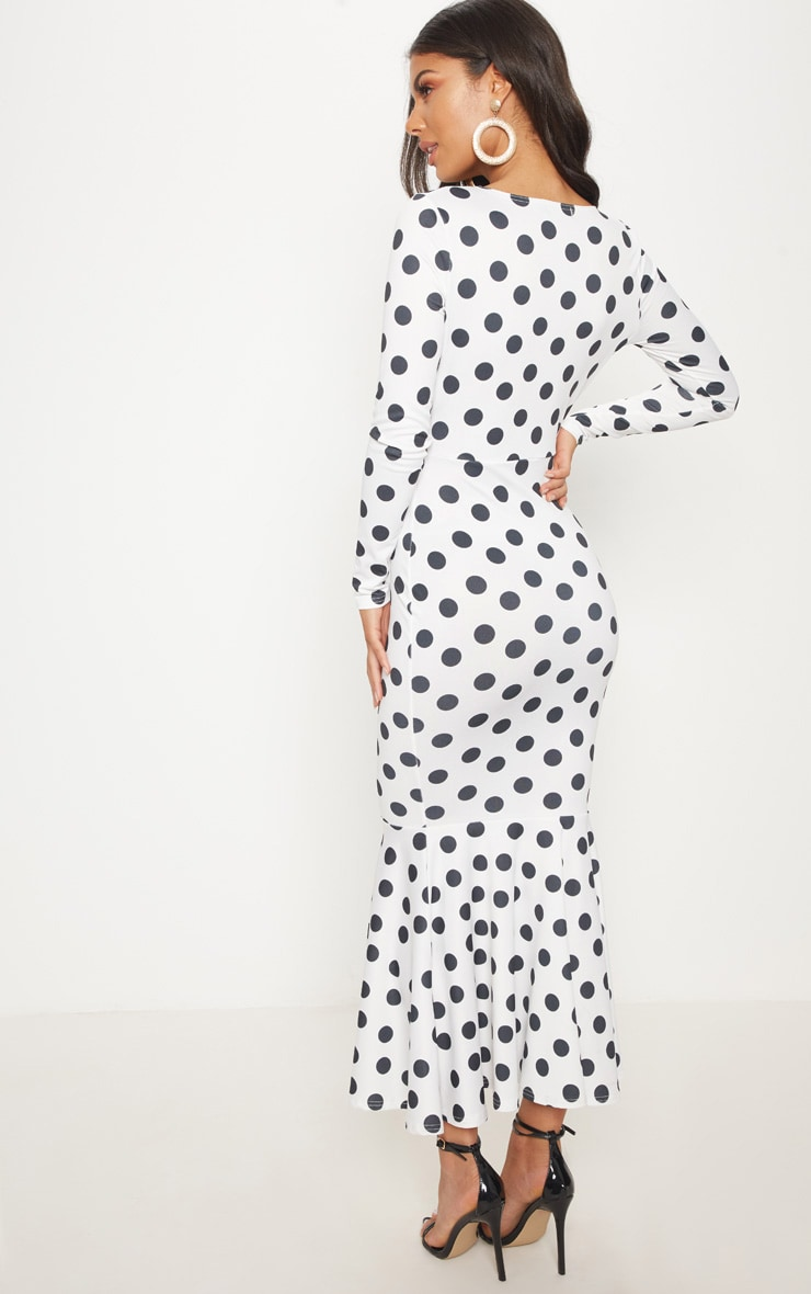 White Polka Dot Fishtail Midaxi Dress 2