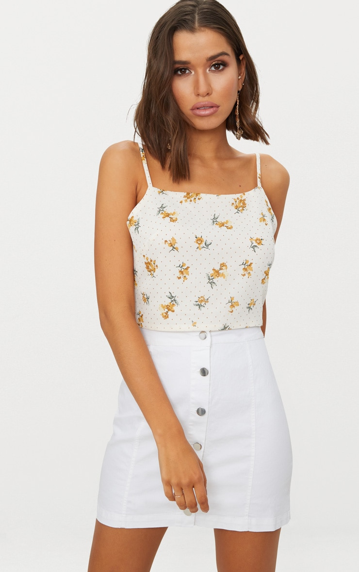 White Ditsy Floral Tie Back Crop Top  2