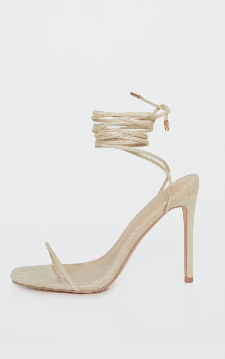 Nude Thin Strap Ankle Tie Strappy Sandal 4