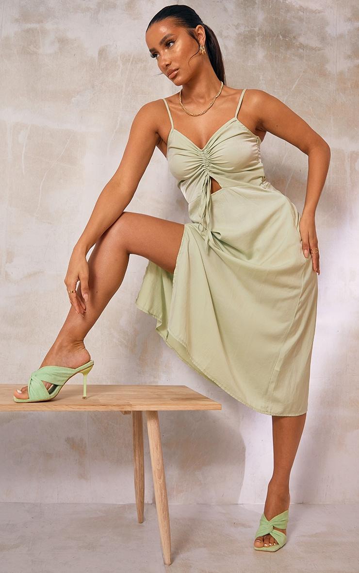Sage Green Cotton Ruched Bust Split Detail Strappy Midi Dress 1