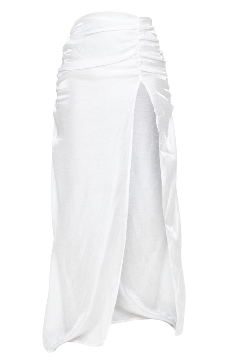 White Sheer Ruched Side Split Leg Maxi Skirt 6