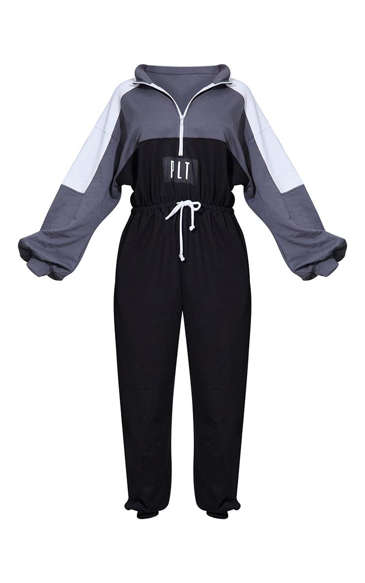 PRETTYLITTLETHING Black Color Block Zip Sweat Jumpsuit 5