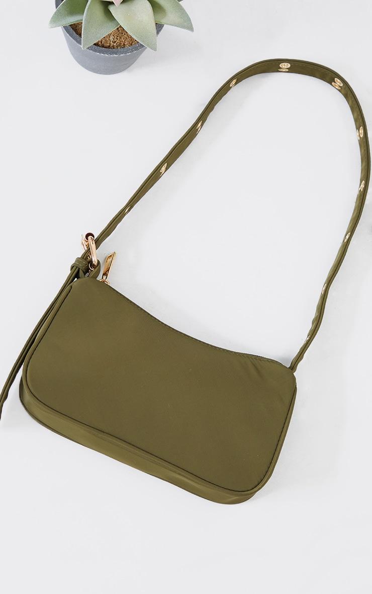Olive Nylon Eyelet Strap Mini Shoulder Bag 2