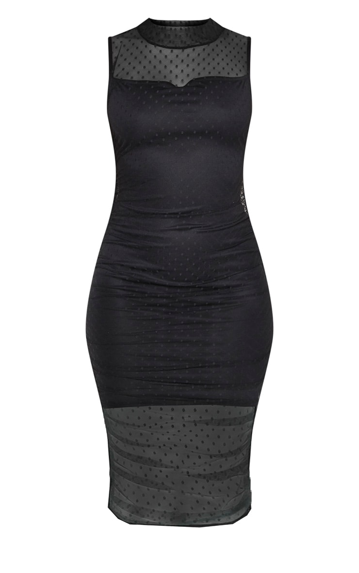Black Dobby Mesh Ruched Midi Dress 3