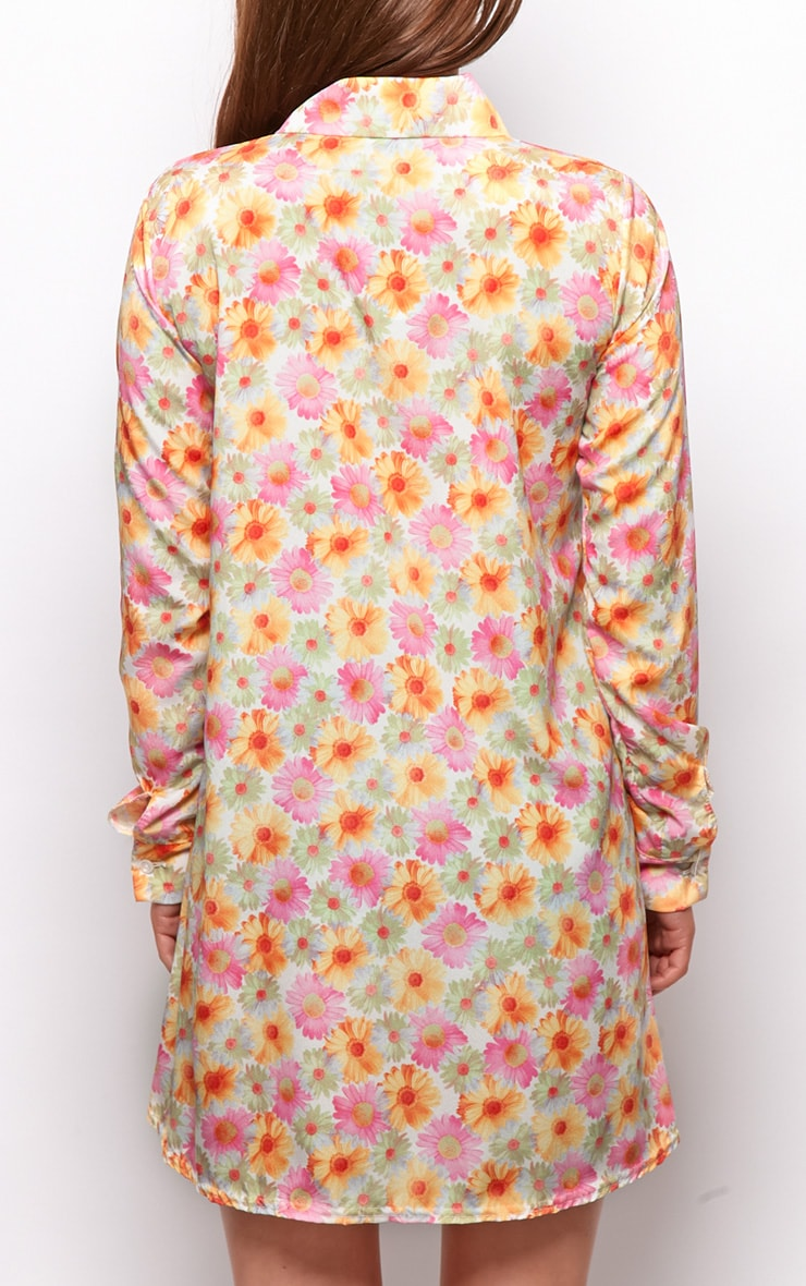 Lyla Orange Daisy Print Chiffon Shirt Dress  2