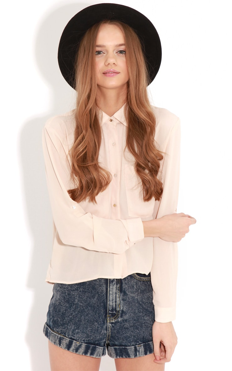 Arya Rose Cropped Pearl Button Blouse 4