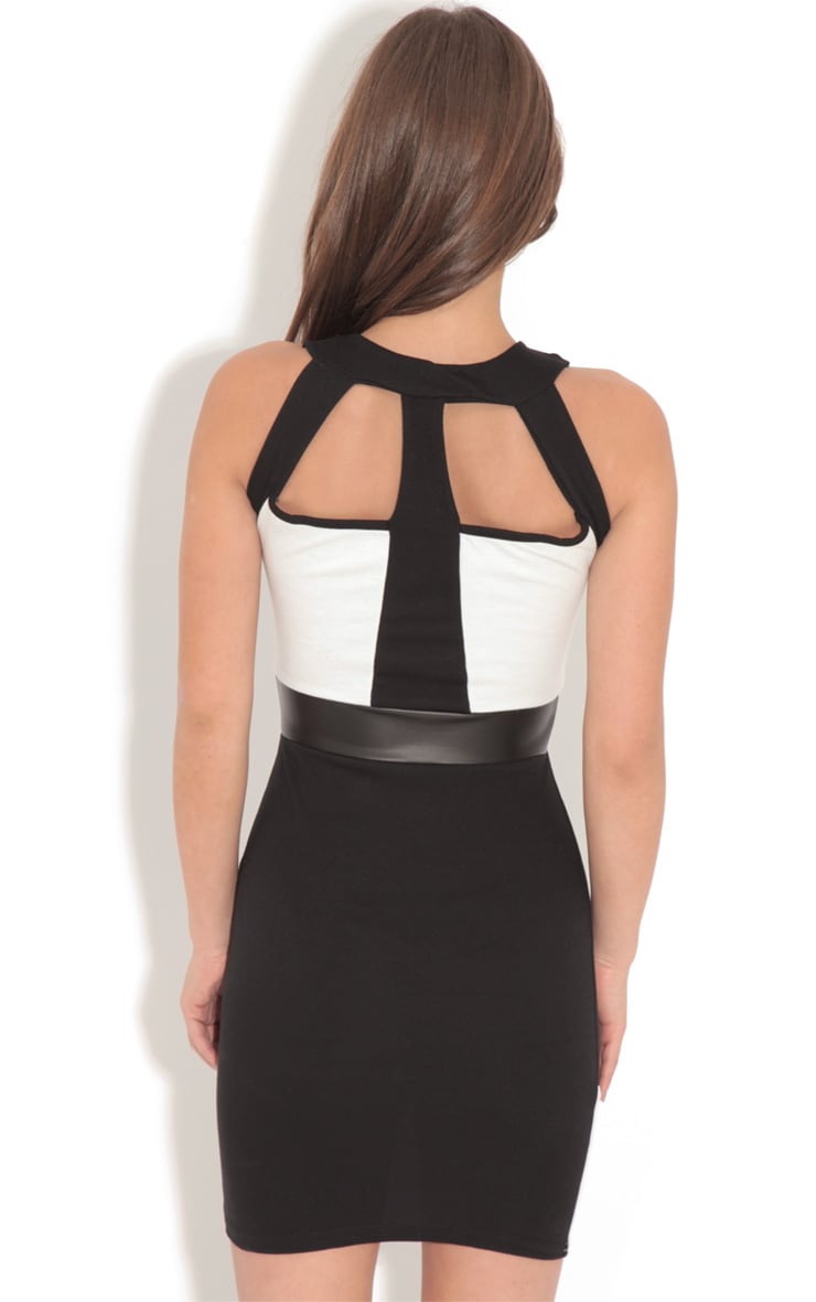 Amber Monochrome Bodycon Midi Dress-L 2