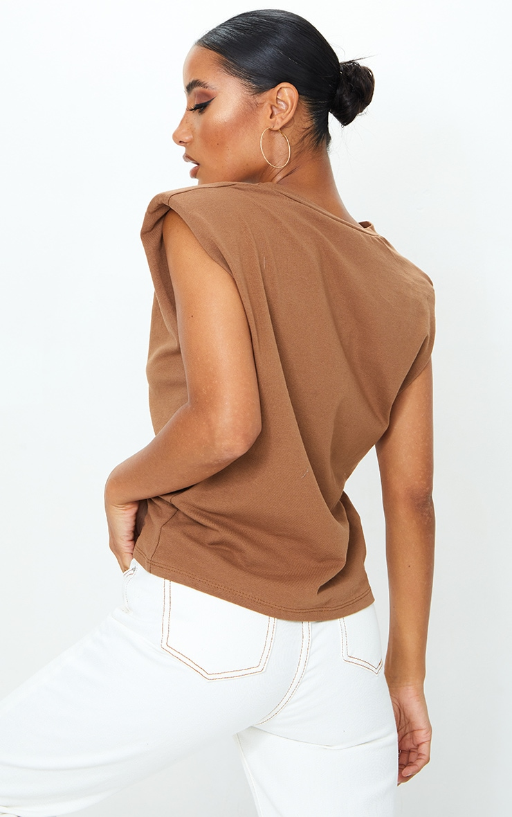 Mocha Shoulder Pad Sleeveless Oversized Top 2