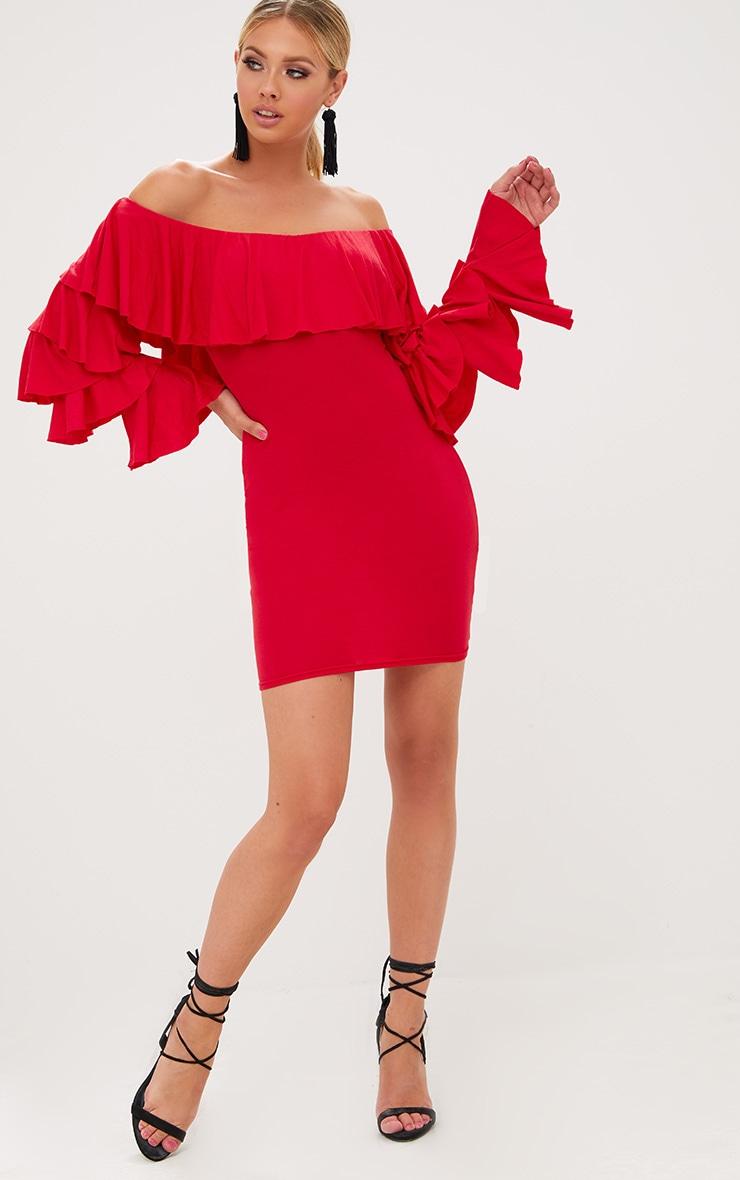 Red Ruffle Sleeve Bardot Bodycon Dress 4