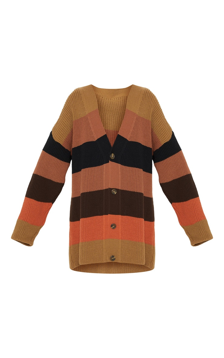 Rust Striped Knitted Cardigan 3
