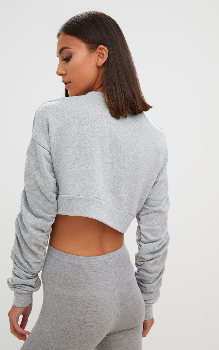 Grey Ruched Sleeve Oversized Cropped Sweater 2