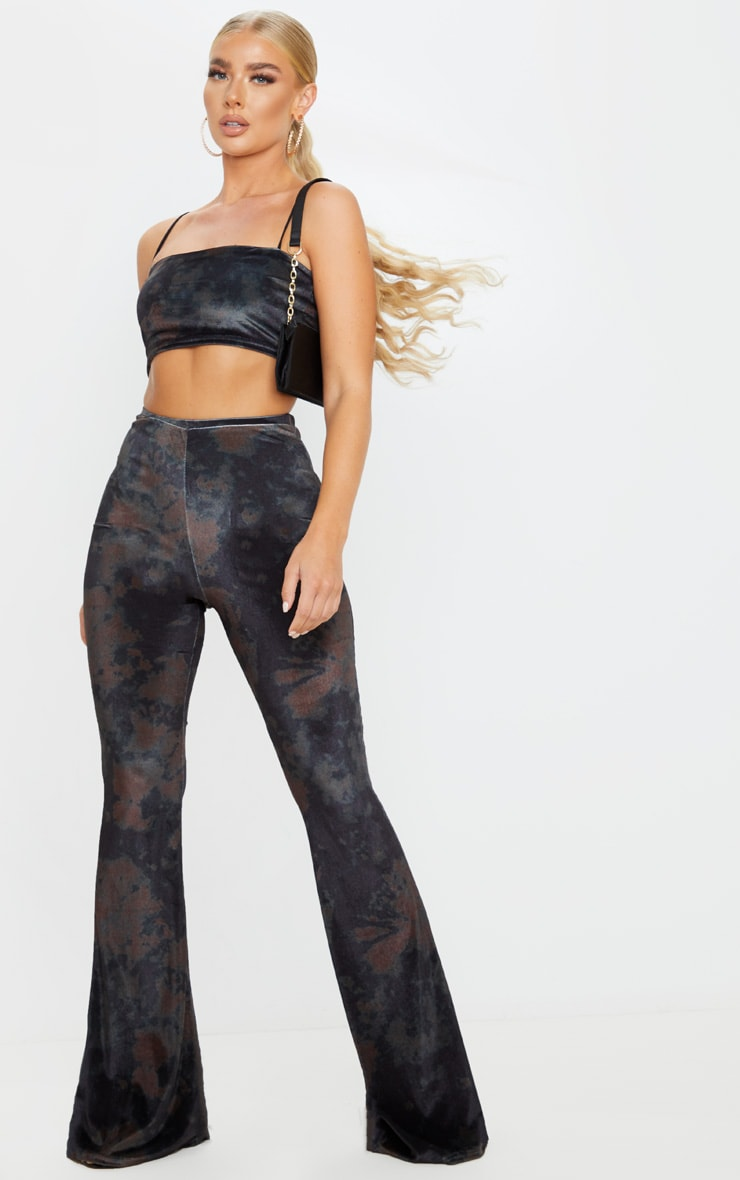 Black Tie Dye Velvet High Waisted Flared Pants 1
