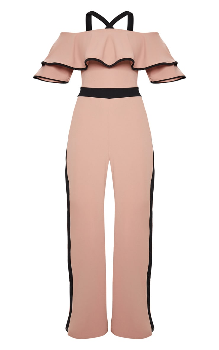Dusky Pink Contrast Cold Shoulder Jumpsuit 3