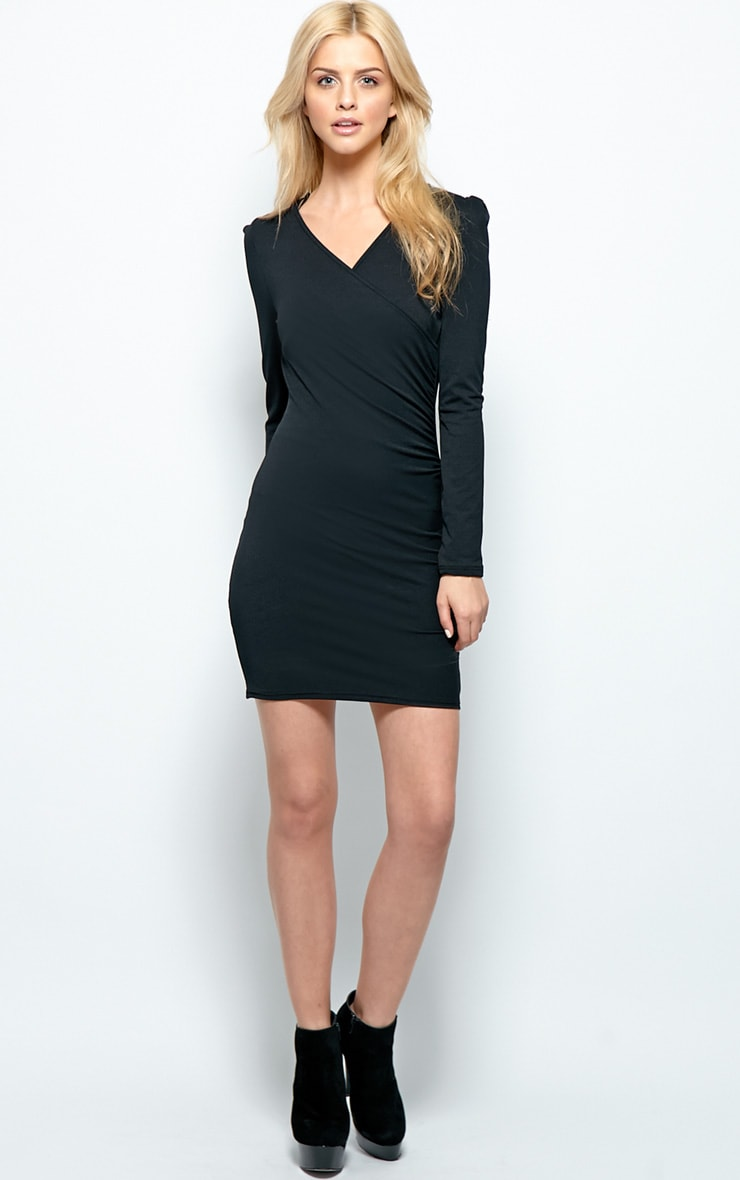 Mina Black Crossover Bodycon Dress 3