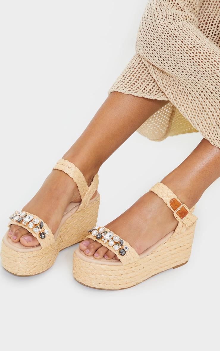 Womens Ladies Flatforms Sandals Espadrilles Embellished Stud Jewel Wedges Size