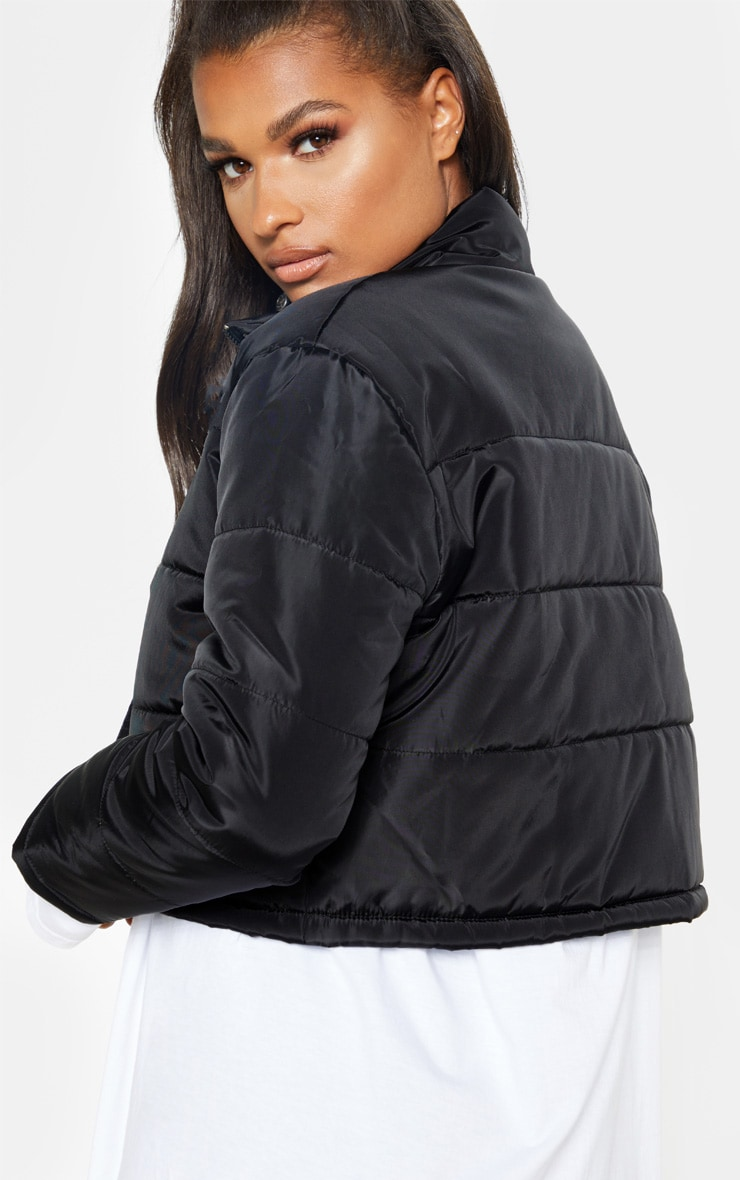 Black Super Cropped Puffer 2