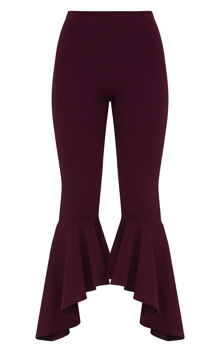 Plum Asymmetric Flare Hem Trousers 3