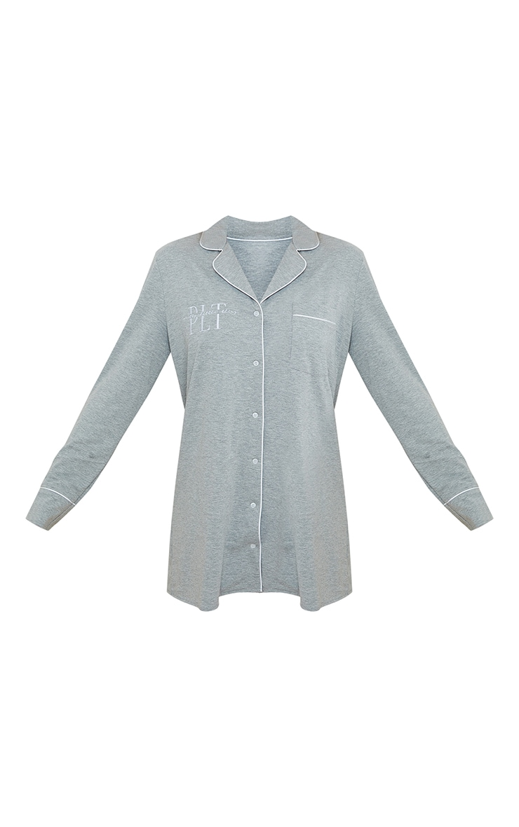 PRETTYLITTLETHING Grey Jersey Button Down Long Sleeve and Shorts PJ Set 5