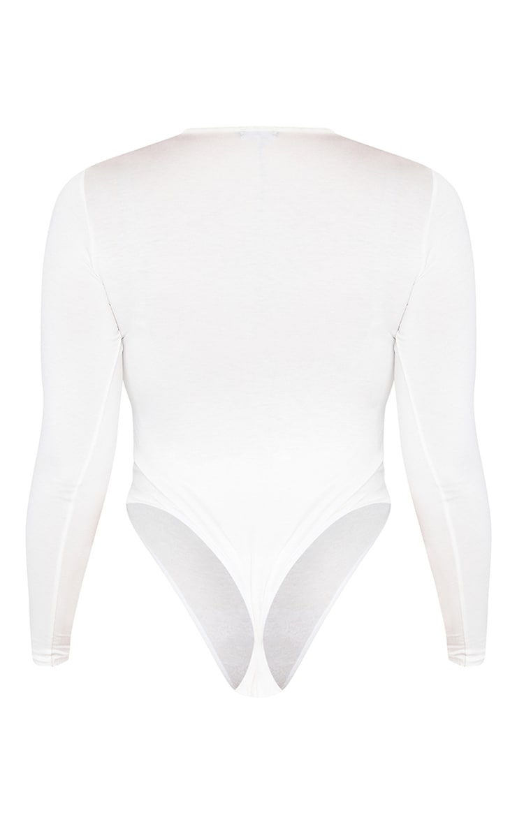Plus Basic Cream Crew Neck Long Sleeve Bodysuit 6