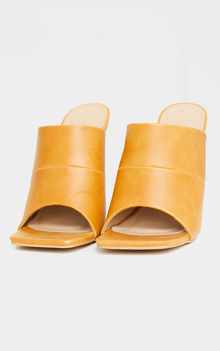 Sand Square Toe High Mule Heels 3