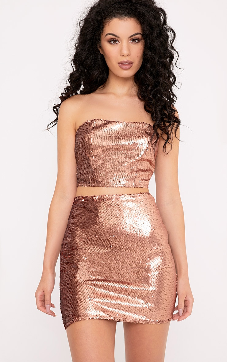 Patrice Rose Gold Sequin Bandeau Top   Tops   PrettyLittleThing IL