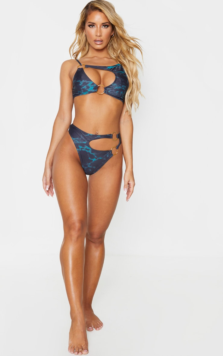 Black Marble Print Minimal Ring Cut Out Bikini Top 3