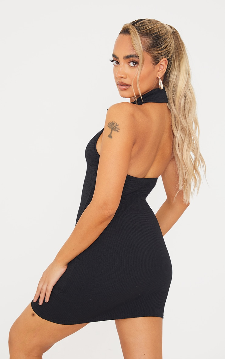 Petite Black Rib Halterneck Button Detail Bodycon Dress 2