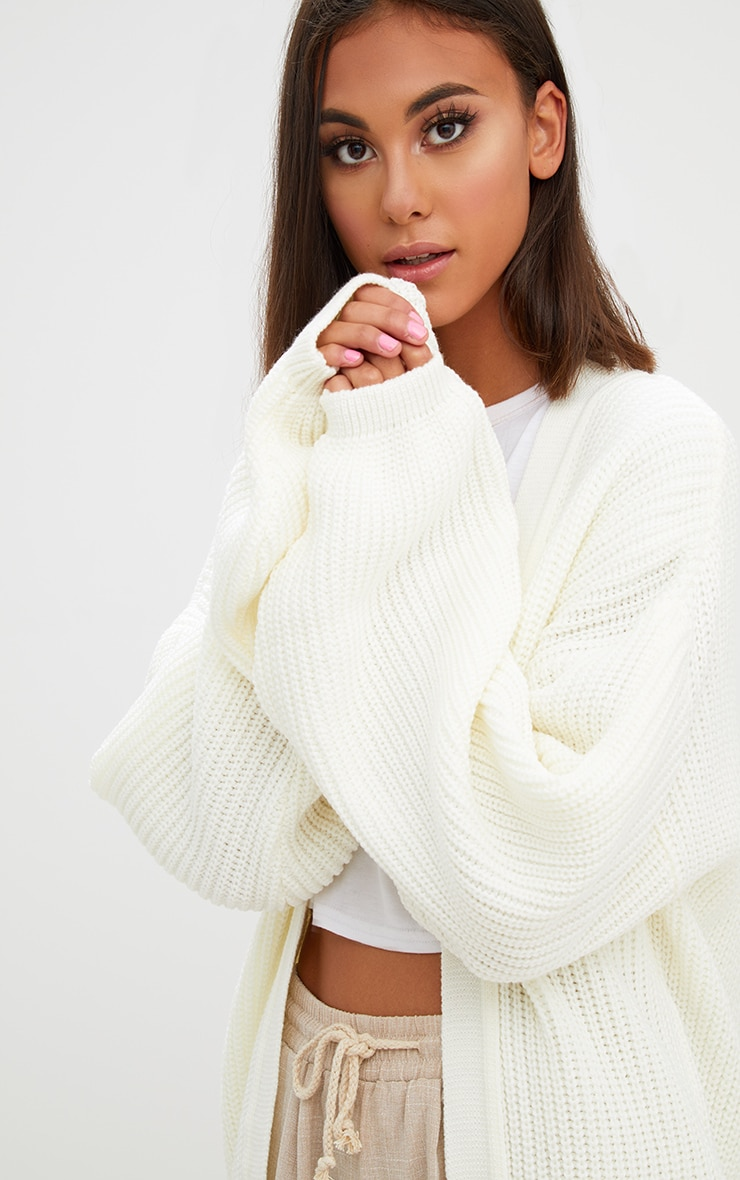 Cream Chunky Long line Knitted Cardigan 5