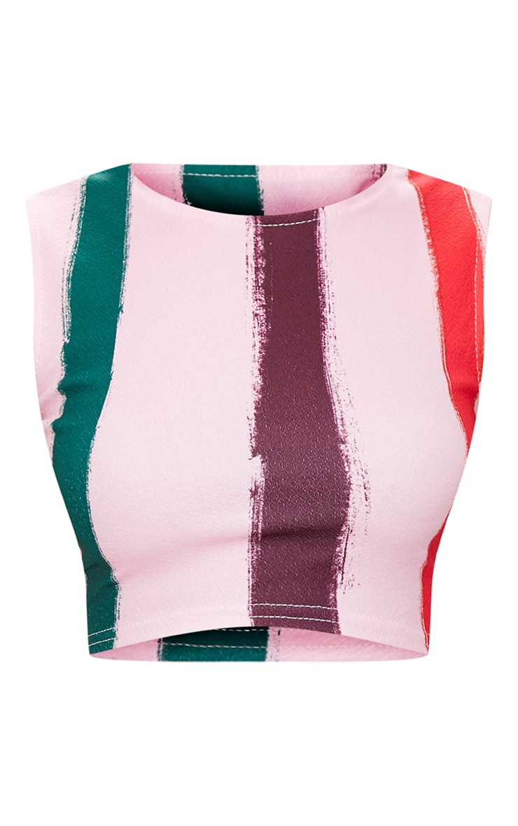 Light Pink Multi Thick Stripe Curve Hem Crop Top 3