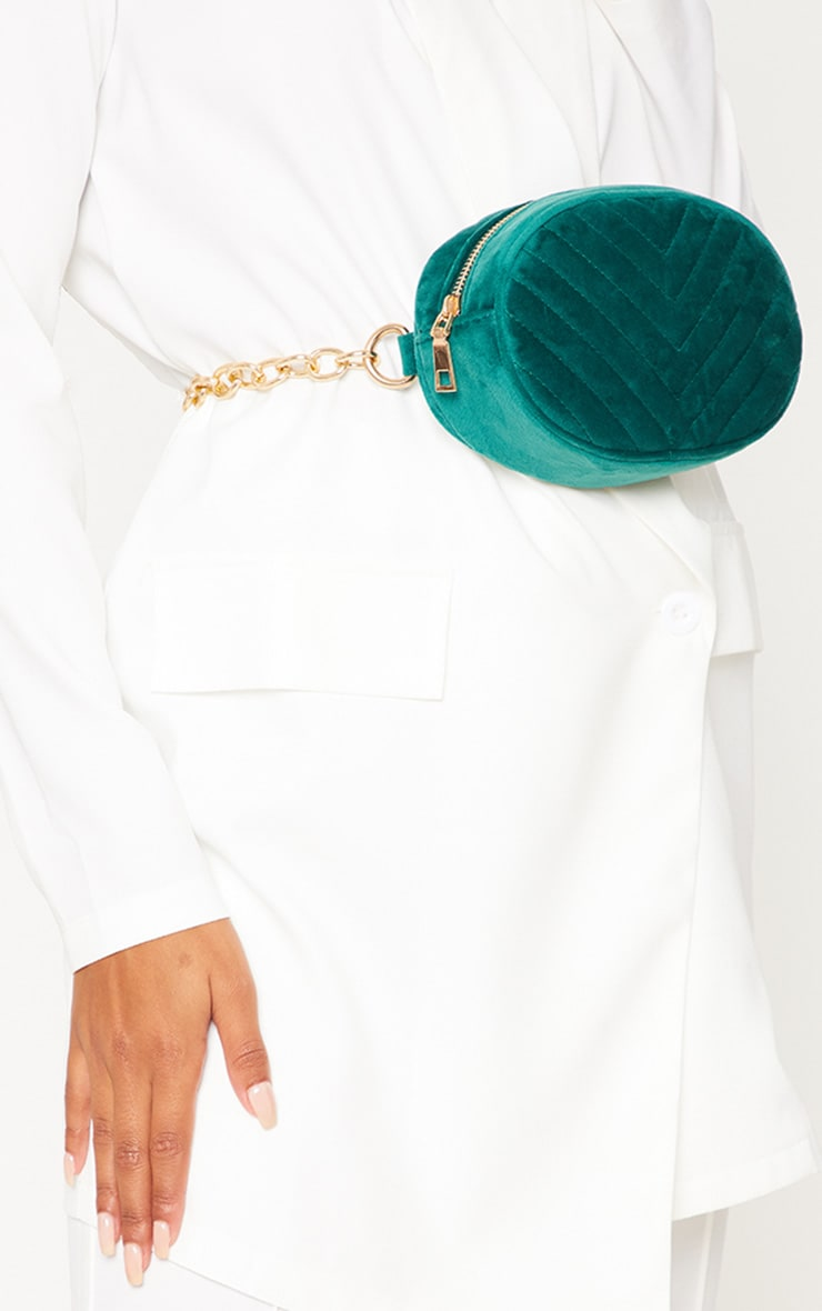 Dark Green Velvet Chevron Chain Belted Bum Bag
