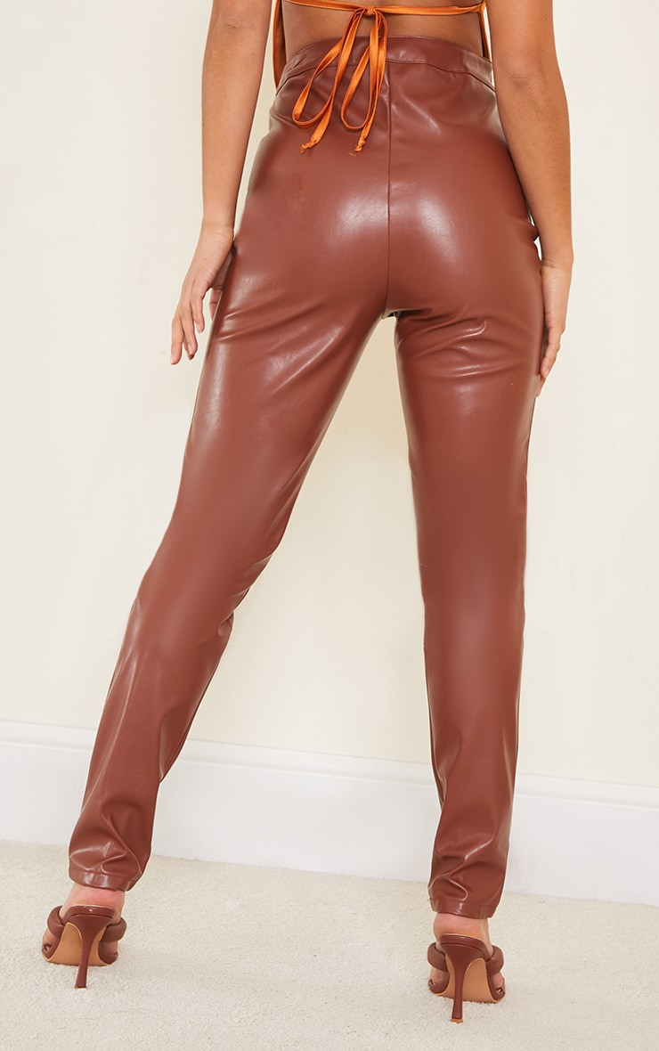 Petite Chocolate Faux Leather Seam Detail Trouser 3