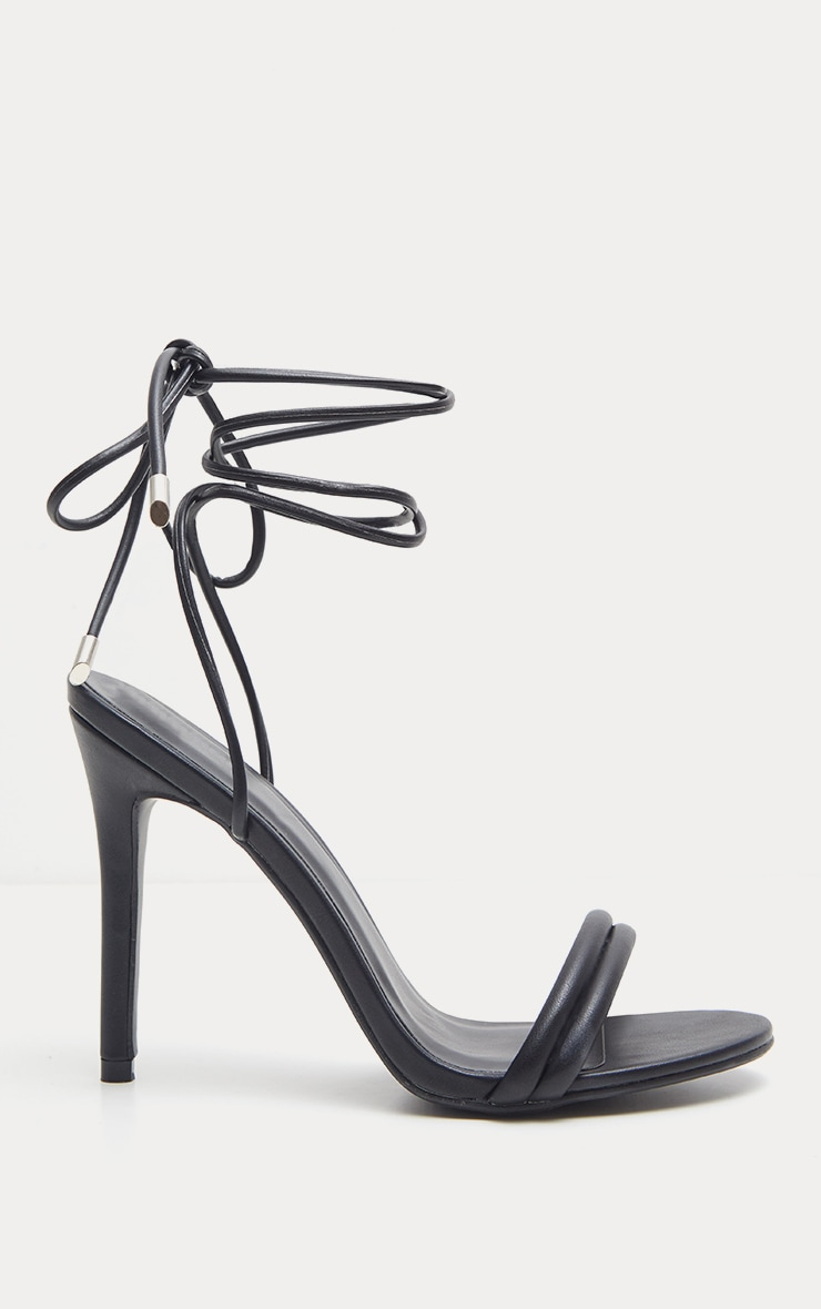 Black Strappy Leg Tie Heeled Sandal 4