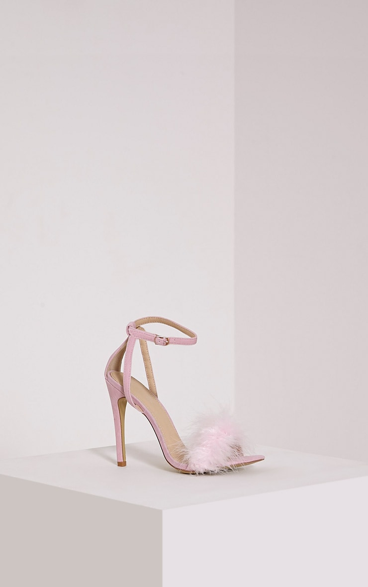 Gina Baby Pink Faux Suede Fluffy Heels 4
