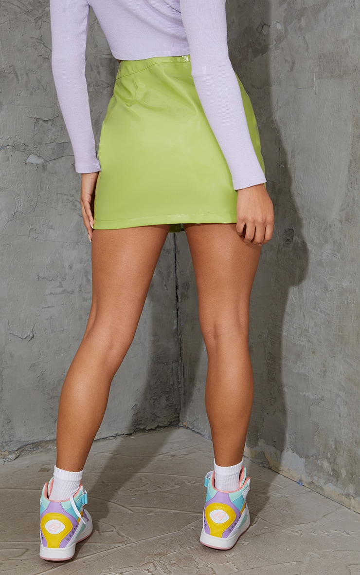 Khaki Vinyl Mini Skirt 3