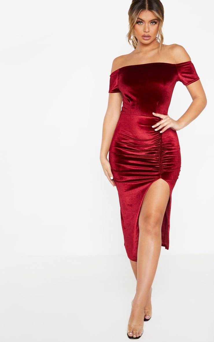 Robe Velour Rouge Col Bardot Mi longue | Robe cocktail, Robe